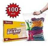 Shiny Select PRC [ 100 Count ] Extra Large Super Big Bags, Zip & Lock Jumbo Big Plastic Bags, 18'x24' Clear 5 Gallon Bags, 100 Count