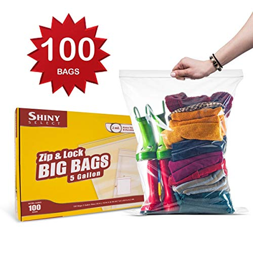 - Shiny Select PRC [ 100 Count ] Extra Large Super Big Bags, Zip & Lock Jumbo Big Plastic Bags, 18