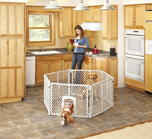 North States MyPet 18.5 Sq. Ft. Petyard Passage: 6-panel pet enclosure with lockable pet door. Freestanding, 7 sq. ft. - 18.5 sq. ft. (26'' tall, Light gray) by North States Pet (Image #2)