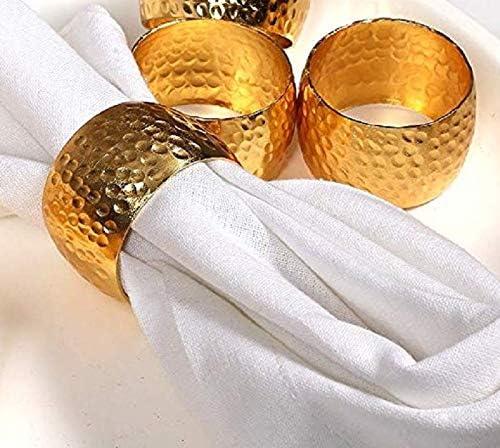 Abendessen t/äglicher Gebrauch weihnachten Partys Baumwolle-Klinik 12 St/ück Serviettenringe edelstahl Gold serviettenringe f/ür hochzeit