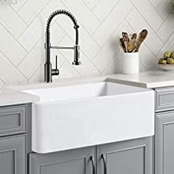 Farmhouse Kitchen 30 White Farmhouse Sink, Fireclay Porcelain Single Bowl Apron-Front Kitchen Sink, Reversible Ceramic Farm Sink with… farmhouse kitchen sinks