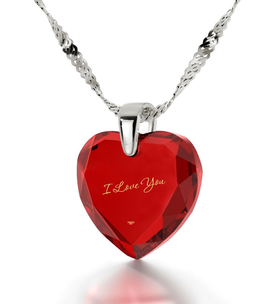 925 Sterling Silver I Love You Necklace 24k Gold Inscribed on Red Cubic Zirconia Heart Pendant, 18''