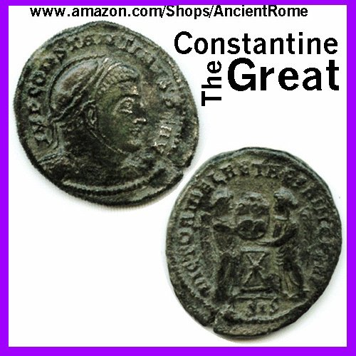 (Constantine the Great - Imperial Roman Empire Bronze Coin with Certificate of Authenticity )