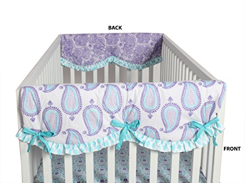 Bacati Isabella Girls Paisley 2 Piece Side Crib Rail Guard Cover, Lilac/Purple/Aqua