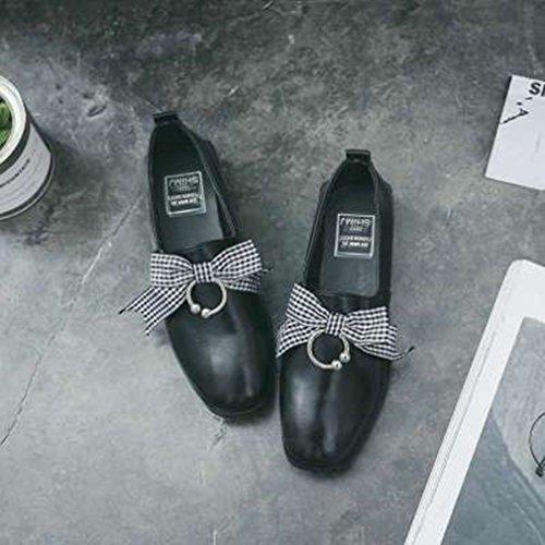 Dames Klassieke Penny Loafers Platte Ronde Neus Instapper Strik Casual Jurk Loafer Oxford Schoenen Zwart