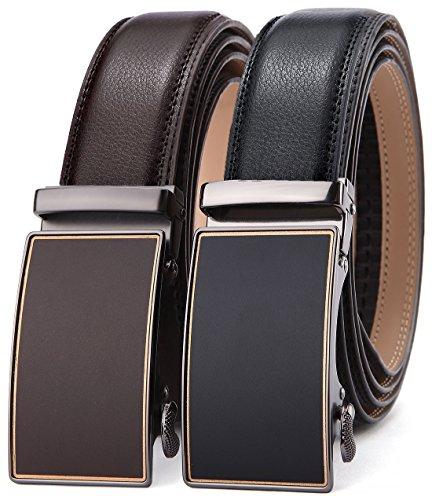 Men's Belt,Bulliant Slide Ratchet Belt for Men with Genuine Leather 1 3/8,Trim to ()