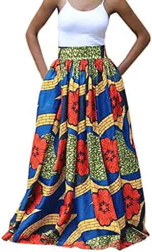 d4e6af53379 kemilove Women High Waist Vintage Printed Pleated Swing Long African Leated  Beach Maxi Skirt
