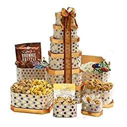 Broadway Basketeers Towering Heights Kosher Gourmet Gift Tower with an Assortment of Chocolate, Snacks, Sweets, Cookies and Nuts