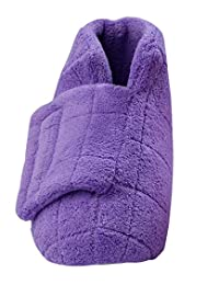 Silverts Disabled Elderly Needs Extra Wide Swollen Feet Slippers - Soft Cozy Comfortable and Plush Bootie Slippers