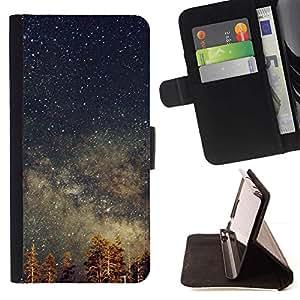 For Sony Xperia Z5 Compact Z5 Mini (Not for Normal Z5) Case , Estrellas del cielo nocturno Tree Tops Galaxy- la tarjeta de Crédito Slots PU Funda de cuero Monedero caso cubierta de piel