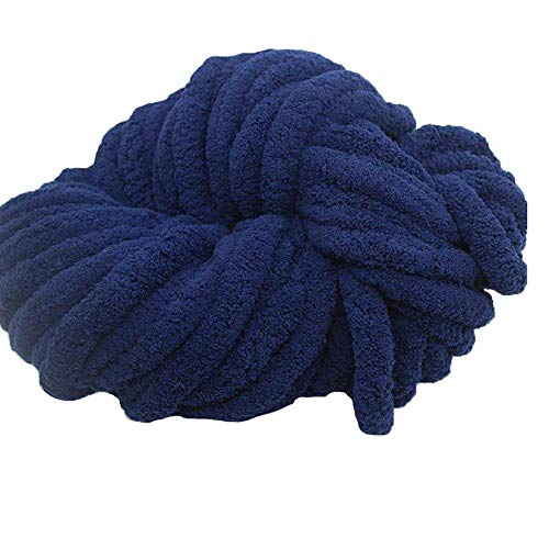 Navy Blue Chunky Knit Chenille Yarn,Jumbo Chenille Yarn,Arm Knit Yarn Arm Knitted Chenille Yarn,DIY Crochet Rug/Blanket/Hat,250g