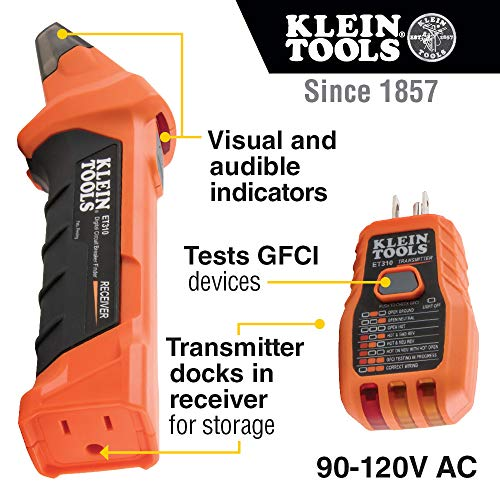 Klein Tools Digital Circuit Breaker Finder with GFCI Outlet Tester – ET310