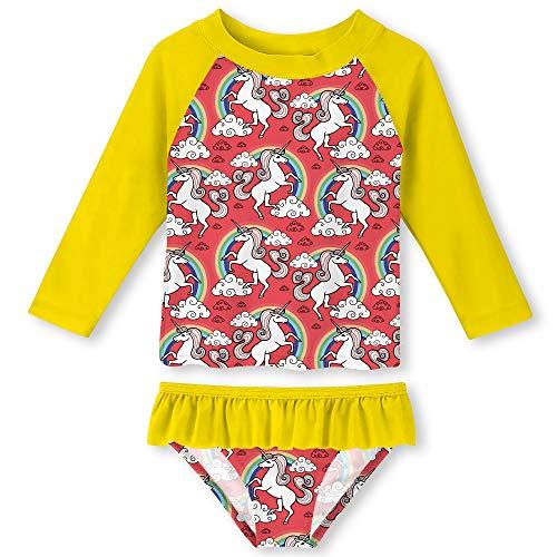 (ALOOCA Kid Girls Unicorn Two Pieces Beach Swimsuit Long Sleeve Bathing Suit Protect Skin Ruffle Bottom Swimming Set Yellow 5-6T)