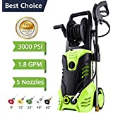 Electric Pressure Washer, 3000 PSI High Pressure Washer, Professional Washer Cleaner Machine with 5 Interchangeable Nozzles, 1800W Rolling Wheels,1.80 GPM (3000PSI-with Hose Reel)