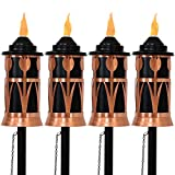 Sunnydaze Steel Outdoor Torch Jar with Tulip Design, Includes Snuffer, 22- to 64-Inch Adjustable Height, Set of 4, Copper/Black
