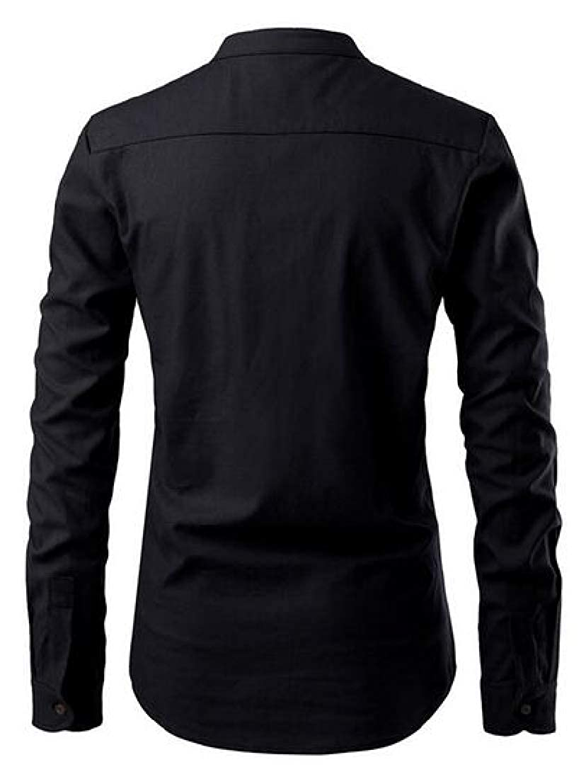 pipigo Mens Casual Business Stand Collar Slim Fit Solid Color Long Sleeve Dress Henley Shirts