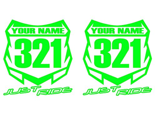 JUST RIDE Motocross Number Plate Replica Decal Stickers