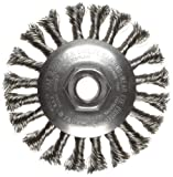 Weiler Dualife Bevel Wire Wheel Brush, Threaded Hole, Stainless Steel 302, Partial Twist Knotted, 4-1/2'' Diameter, 0.014'' Wire Diameter, 5/8-11'' Arbor, 1'' Bristle Length, 3/8'' Brush Face Width, 12500 rpm