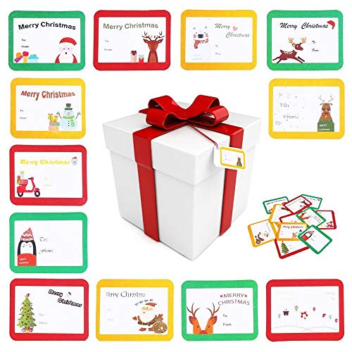 CCINEE Christmas Gift Tag Stickers Self Adhesive Xmas Festival Birthday Wedding Holiday Decorative Presents Wrapping Labels Decals 120 Pack (Labels Sticky Christmas)