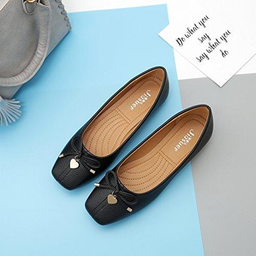 Meeshine Womens Square Toe Bowknot Ballett Komfort Slip auf Wohnungen Schuhe Schwarz 02