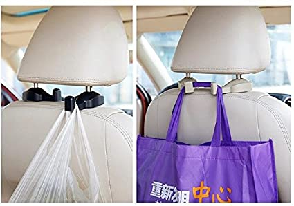 Beige Vehicle Interior EKYLIN Universal Car Seat Headrest Hook Hanger Organizer for Suit Coat Shopping Bag Beverage Drinking Bottle