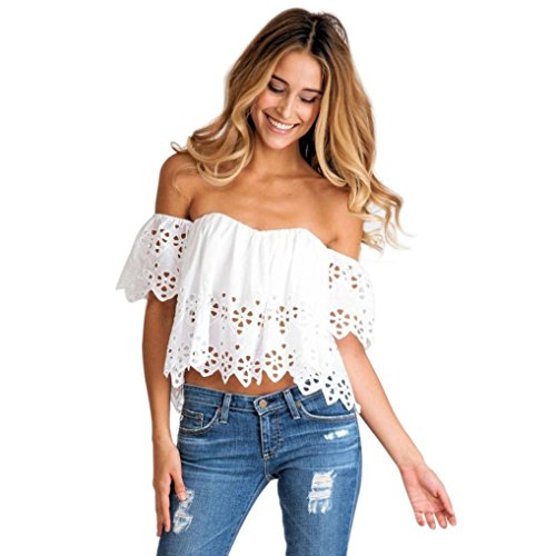 T Shirts For Women, vermers Ladies Summer Off Shoulder Vest Casual Loose Tank Tops Blouse(White, L) -