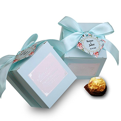 Doris Home 50 pcs Birthday Wedding Party Favor, Wedding Gift Bags Chocolate Candy Gift Boxes Bridal Shower Party Paper Gift Box (Blue Names)
