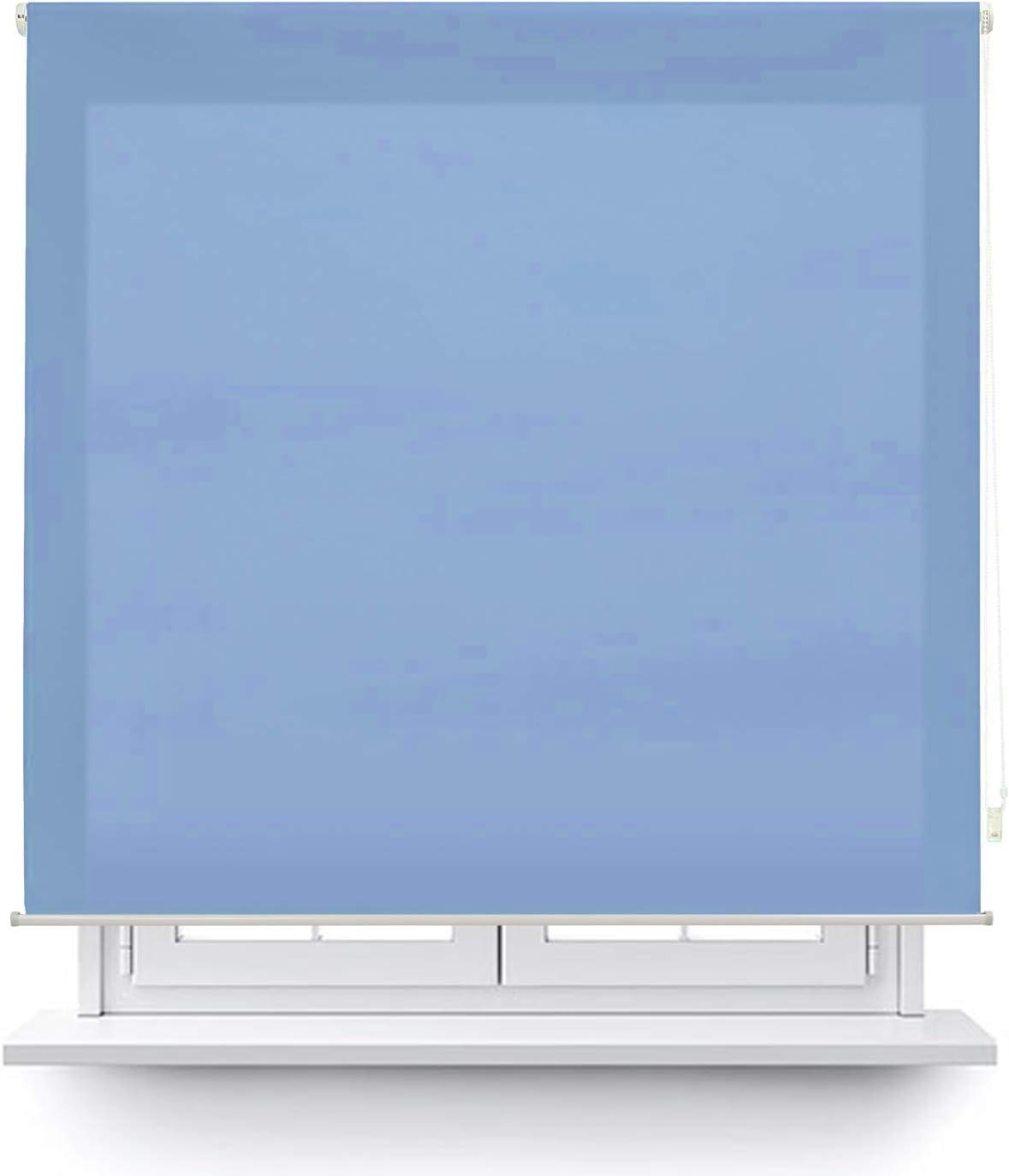 MERCURY TEXTIL Estor Enrollable translúcido Liso (Azul, 150x180cm)