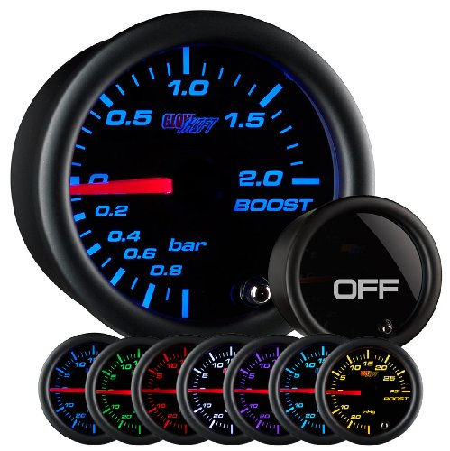 """GlowShift Tinted 7 Color 2.0 BAR Boost/Vacuum Gauge Kit - Includes Mechanical Hose & Fittings - Black Dial - Smoked Lens - for Car & Truck - 2-1/16"""" 52mm"""