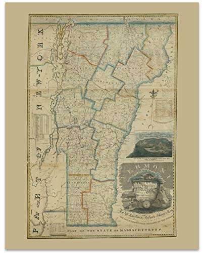 Vermont Vintage Map Circa 1820-11 x 14 Unframed Print - Great Housewarming Gift. Vermont Themed Office Decor.