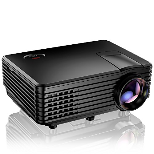 Projector, TENKER RD805 Mini Projector, Portable Home Cinema HD LED Video Movie Projector Support 1080P USB VGA HDMI AV, Compatible with Amazon Fire Stick TV Smartphones iPhone iPad, Black