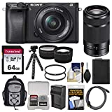 Sony Alpha A6300 4K Wi-Fi Digital Camera & 16-50mm & 55-210mm Lenses (Black) with 64GB Card + Case + Battery & Charger + Flex Tripod + Filters + Kit