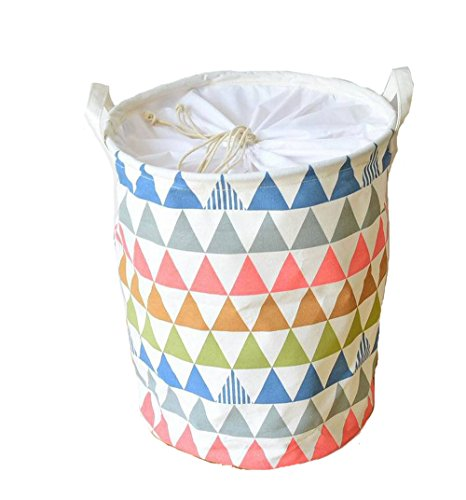DuShow Waterproof Collapsible Laundry Basket Dirty Clothes Hamper - Perfect for College Dorms, Kids Room & Bathroom - triangle Patterned (triangle)