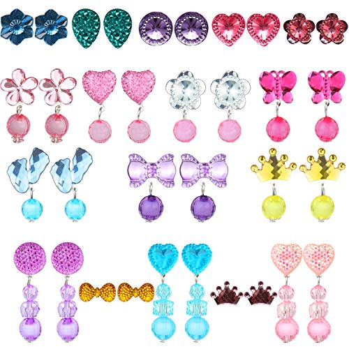 HaiMay 17 Pairs Clip-on Earrings Girls Play Earrings for Party Favor,All Packed in Clear Boxes -