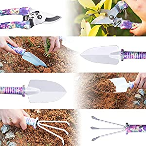 WOLFWILL 10 Pieces Garden Tools Set, Lightweight Gardening Tools with Storage Case, Garden Gift Sets