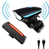 Cheap Bicycle Lights ,CAMTOA Rechargeable LED Front and Rear Bike Light Set – Super Bright 250 LM LED Bicycle Light Set with 3 Light Mode Options – 2 X USB Cable