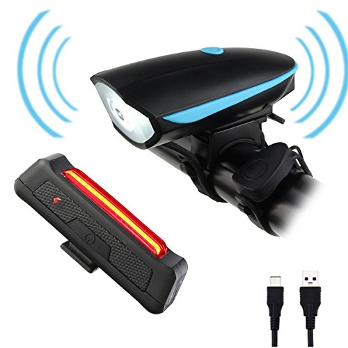 Bicycle Lights ,CAMTOA Rechargeable LED Front and Rear Bike Light Set - Super Bright 250 LM LED Bicycle Light Set with 3 Light Mode Options - 2 X USB Cable