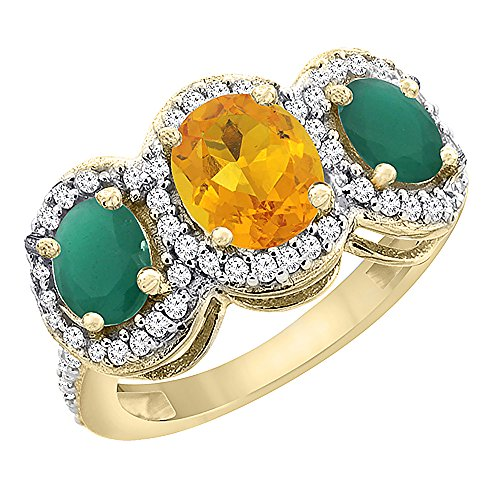 Oval 3 Stone Cabochon Ring - 10K Yellow Gold Natural Citrine & Cabochon Emerald 3-Stone Ring Oval Diamond Accent, size 8