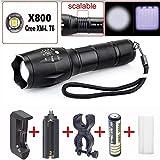 Doinshop X800 Tactical Flashlight LED Military Lumens Alonefire Set,Black