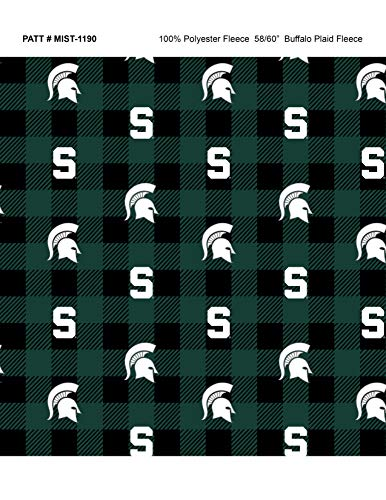 Michigan State Fleece Blanket Fabric-Michigan State Spartans Fleece Fabric with Buffalo Plaid Design ()