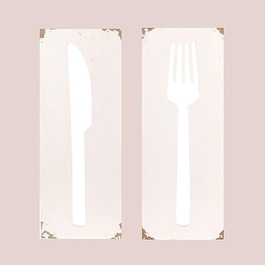 Amazon De Holzbilder Set Gabel Und Messer Ausschnitt Shabby