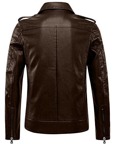 Retro Jacket Coat Lapel CYVVV Zipper Classic Leather Vintage Outerwear Biker Fashion Faux Motorcycle Coffee Men's q7fZx0wB