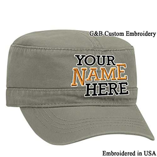 Custom Hat. Military Cadet Hat Embroidered. Your own Text on it. (Olive Green)