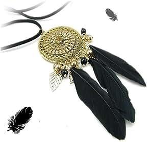Black Feathers Dream Catcher Pendant Necklace w/ Long Black Cord Fashion Jewelry