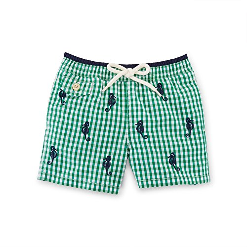 Ralph Lauren Baby Boys Embroidered Gingham Swim Trunk (18 Months, Kayak Green Multi)