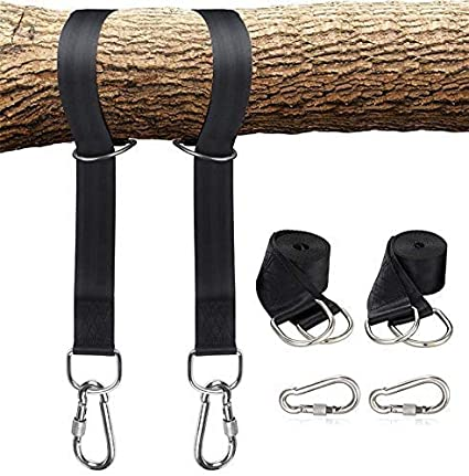 Adjustable Black Safer Lock Snap Carabiner Hooks Perfect For Tree Swing /& Hammocks Carry Pouch Bag Heavy Duty Pangaea Tree Swing Hanging Straps Kit Holds 2200 Lbs 5-Ft Extra Long