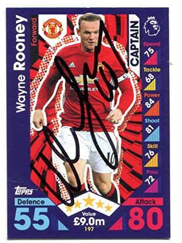 01a7ca65fbfc Image Unavailable. Image not available for. Color  WAYNE ROONEY SIGNED  Topps Match Attax Soccer ...