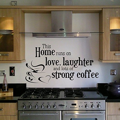GMDdecals Love And Coffee Inspired Quote Décor Wall Decal [BLACK]  12  Inches X 24 Inches