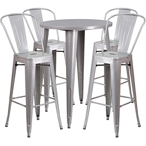 Round Silver Metal Indoor-Outdoor Bar Table Set with 4 Cafe Stools (Silver Metal Bar Table)