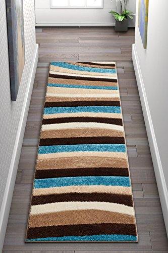 Temptation Waves Stripes Blue, Beige, Brown Modern Geometric Comfy Casual Hand Carved 2x7 (2' x 7' Runner) Area Rug Easy to Clean Stain Fade Resistant Abstract Contemporary Thick Soft Plush ()
